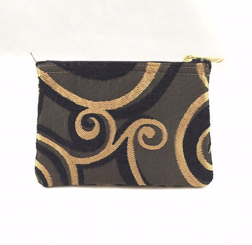Purse - Coin Purse - Black & Gold Swirl