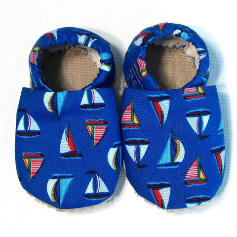 Baby Shoes - 0-6 months - Sailboats