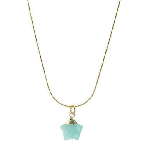 Necklace - Aqua Stone Star on Gold-Filled Chain - SC