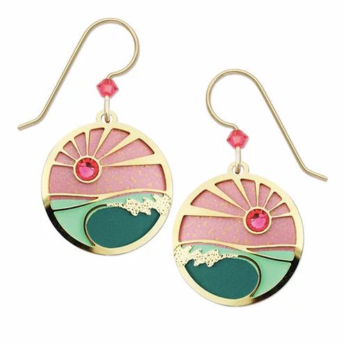 Earrings - Foamy Waves with Coral and Turquoise Sunset - 7744