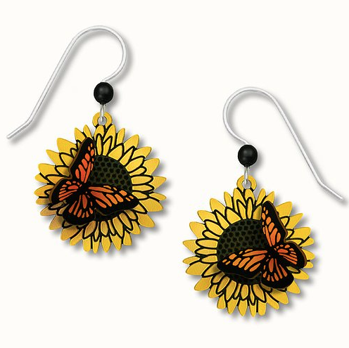 Earrings - 3D Monarch on Sunflower - 1666