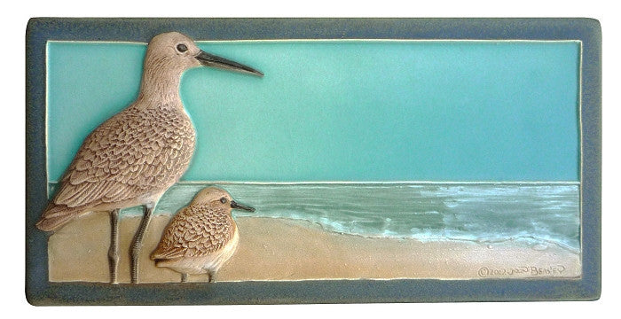 "Ceramic Art Tile - Shore Birds ""It Doesn't Get Better Than This"""