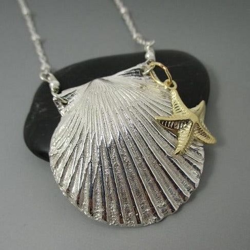 Necklace - .999 Fine Silver Shell 14kt GF Starfish