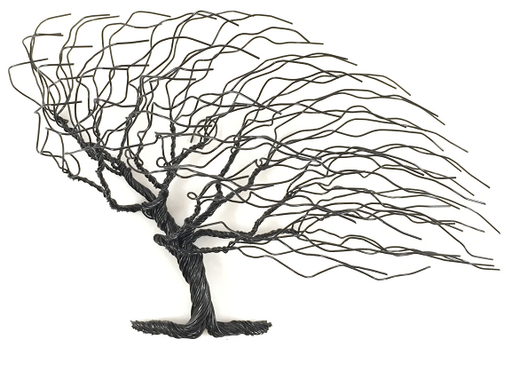 Small Windblown Wire Tree - Black