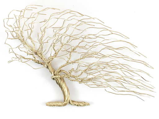 Small Windblown Wire Tree - Gold
