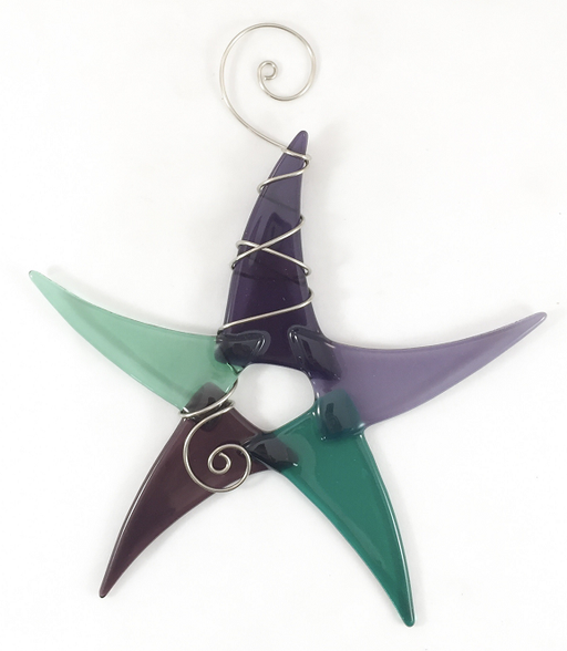 Sun Catcher - Simple Star - Large - Green/Purple