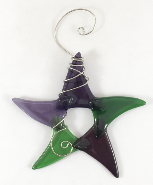 Sun Catcher - Simple Star - Small - Green/Purple