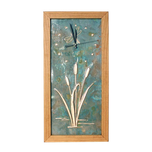 Clock - Tall Box Clock - Patina Copper Dragonfly & Cattail Face