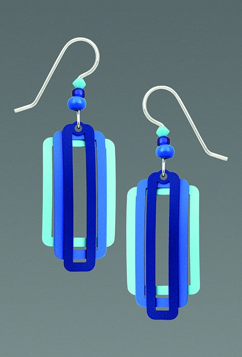 Earrings - Three Part Squares and Rectangles in Rich Blues