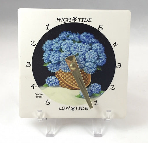 Tide Clock - Desk - Blue Hydrangeas - Brass Hand