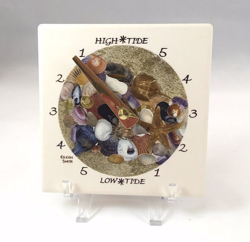 Tide Clock - Desk - Shells - Brass Hand