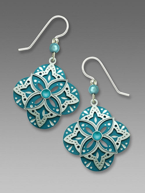 Earrings - Turquoise Clover with Ice-Teal Overlay and Cabochon