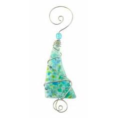 Ornament - Crushed Glass Tree - 4 Inch - Blue/Green