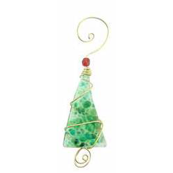 Ornament - Crushed Glass Tree - 4 Inch - Greens