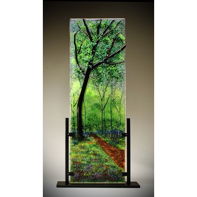 Glass Frit Painting - Color-Filled Oak Path - 110
