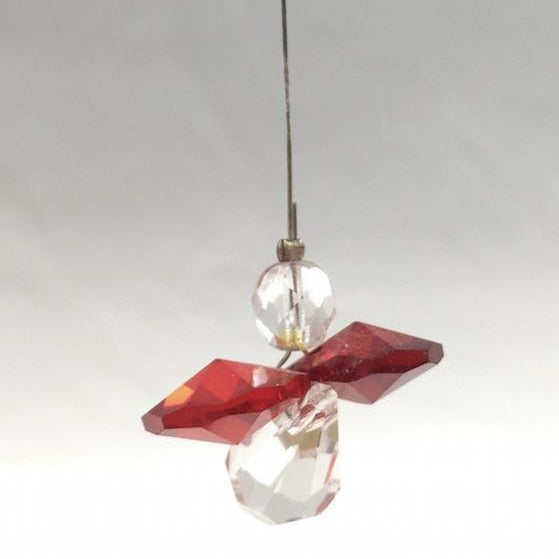 Window Charm - Crystal Baby Angel - Red