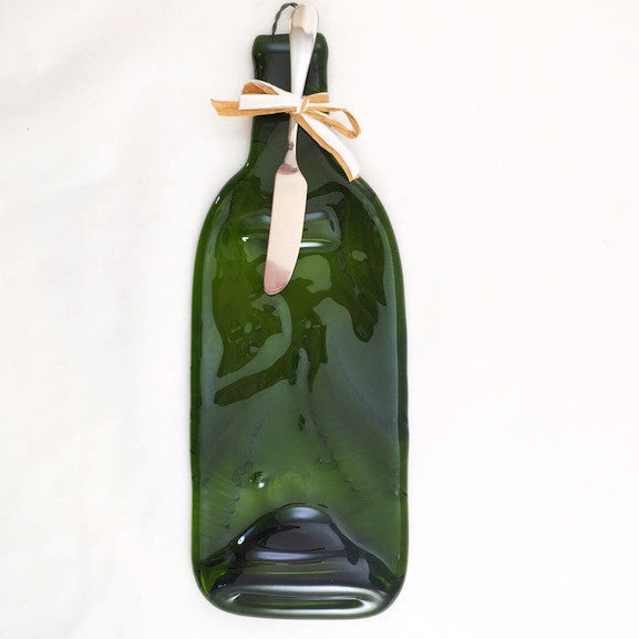 Wine Bottle Cheese Platter - Fern - Emerald Green