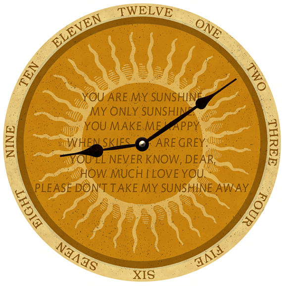 Clock - Wall Hanging - You Are My Sunshine Clock