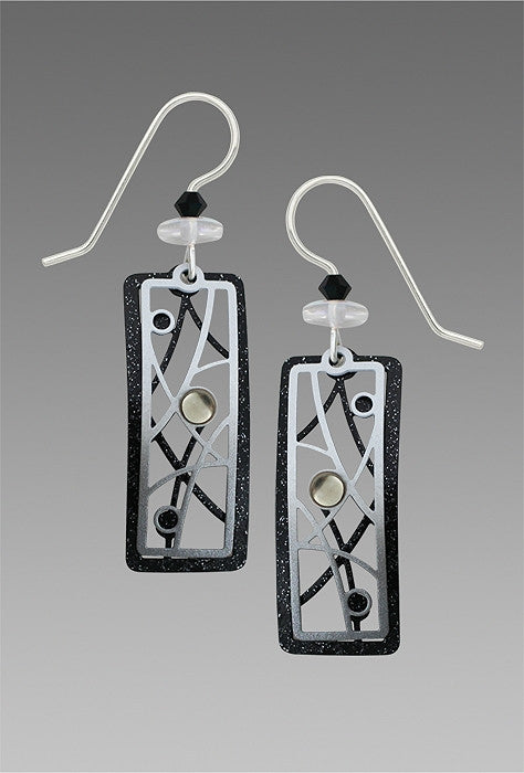 Earrings - Black & White Open Rectangles w/Lines & Dots & Cabs - 7747
