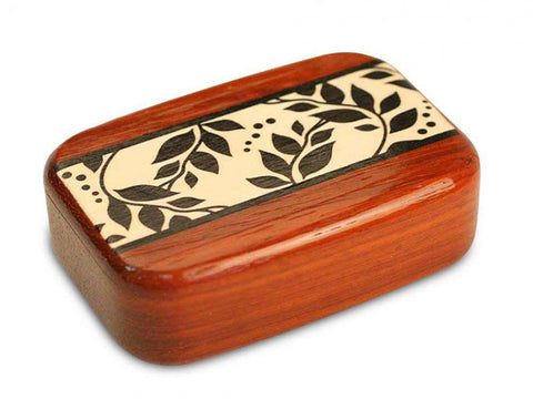 Secret Box - Floral Marquetry - Black & White Vine - Padauk - 3/4x2x3 - SC6471-F1