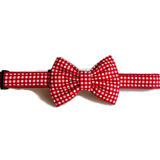 Dog Collar - Red Plaid - Bow Tie - Large