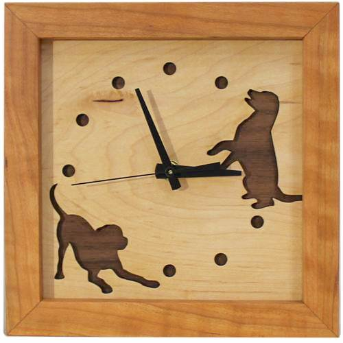 Clock - Box Clock - Dogs at Play