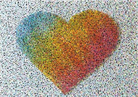 Glitter Photo Card - Dotted Heart Rainbow
