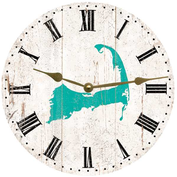 Clock - Wall Hanging - Cape Cod - Aqua on Rustic White