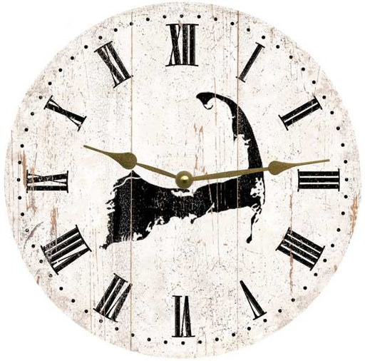 Clock - Wall Hanging - Cape Cod - Black on Rustic White