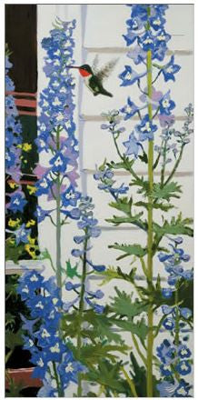 Gift Enclosure Card - Ruby-Throated Hummingbird and Delphinium - 309