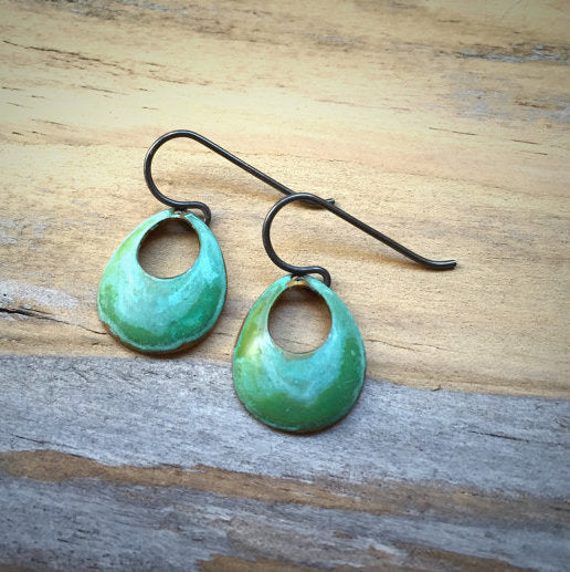 Earrings - Green Verdigris Small Open Circle - E1522