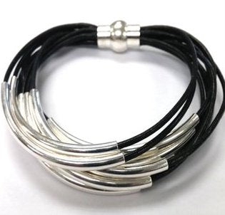 Leather Tube Bracelet - Silver Tubes - Black - Medium