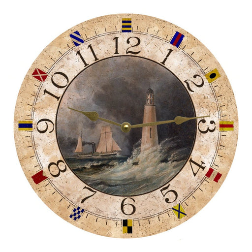 "Clock - Wall Hanging - 10"" - Stormy Lighthouse"