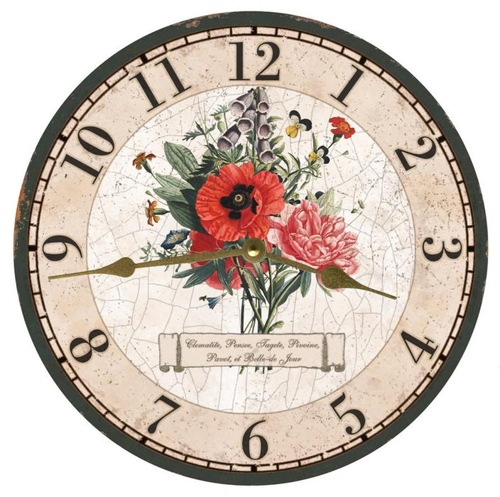 "Clock - Wall Hanging - 10"" - French Bouquet"