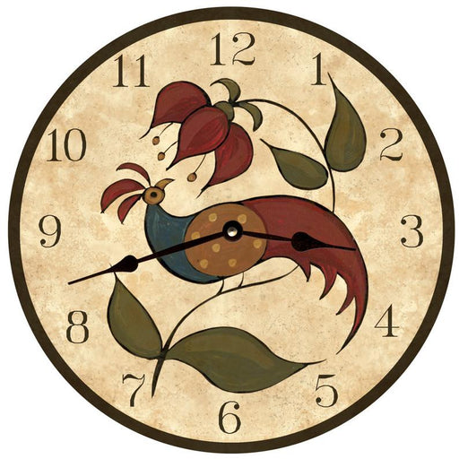 "Clock - Wall Hanging - 10"" - Peafowl"