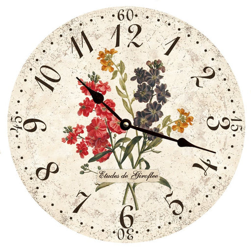 "Clock - Wall Hanging - 10"" - Flower Clock - Purple, Red, Yellow Flowers"