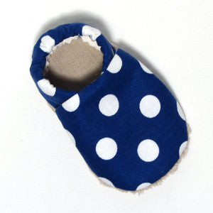 Baby Shoes - 0-6 months - Navy Dots