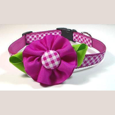 Dog Collar - Pink Flower - Small