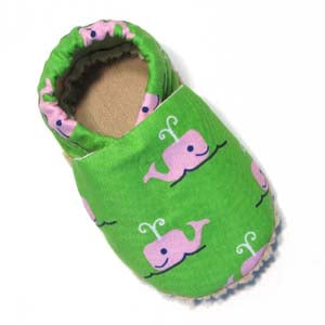 Baby Shoes - 6-12 months - Pink Whale