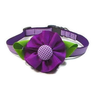 Dog Collar - Purple Gingham Flower - Extra Small