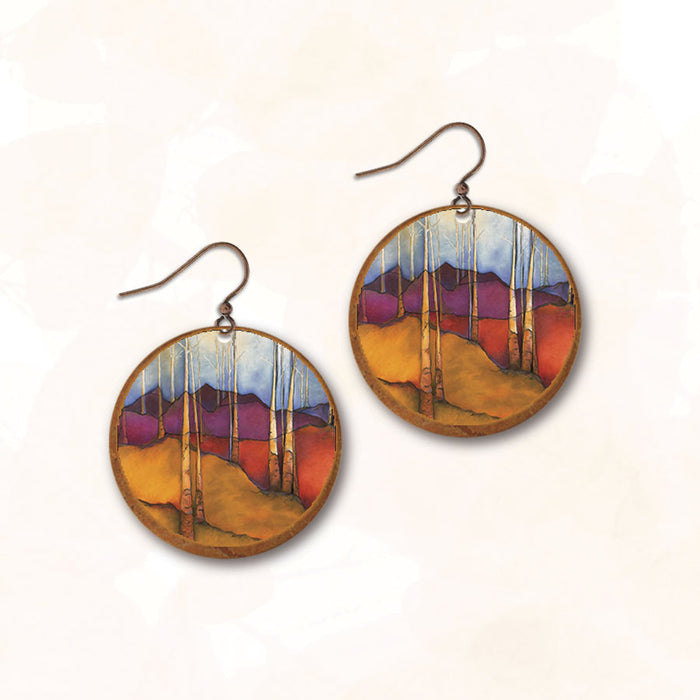 Earrings - White Birches at Sunset with Copper Disc - SH01RE