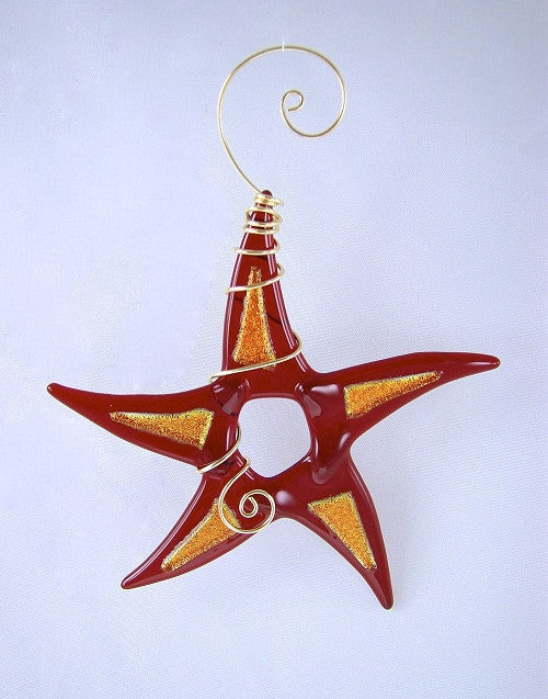 Sun Catcher - Simple Star with Dichroic - Red/Copper