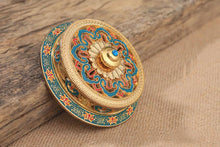 Tibetan Painted Enamel Copper Alloy Coil Incense Burner/Holder - JustLiveHappyLife