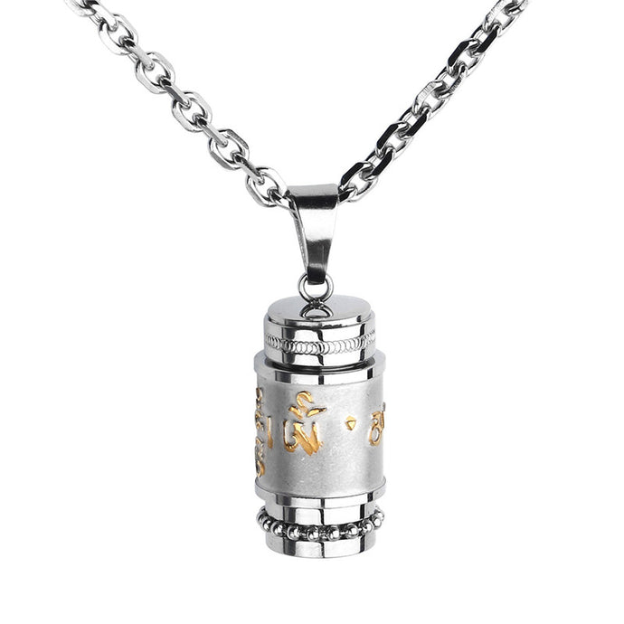 High Quality Stainless Steel Buddhist Om Mani Padme Hum Prayer Wheel Mantra Bottle