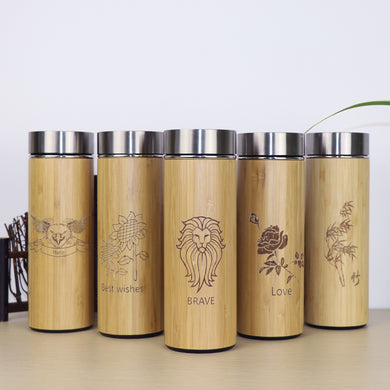 400ml Bamboo Thermos Stainless Steel Keeps Warm Up To 12 Hours!