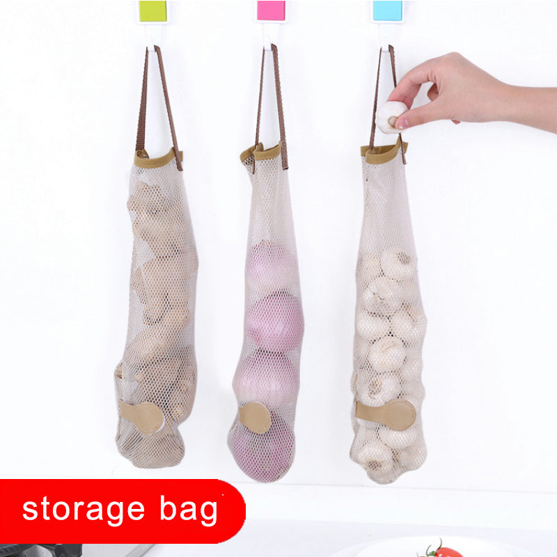 3 Pieces Onion, Garlic, Ginger Storage Hanging Bag - Breathable Mesh Bag - JustLiveHappyLife
