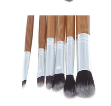 11/6pcs Natural Bamboo Makeup Brushes with Bag  - Professional Cosmetics Brush Kit - JustLiveHappyLife