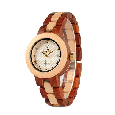 Ladies Quartz  Wristwatch with Full Wooden Band With Gift Box