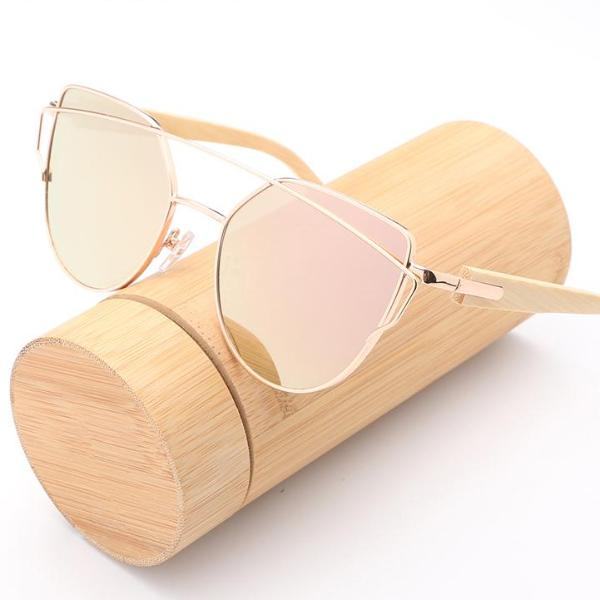 Cat Eye Wood Bamboo Sunglasses Women - JustLiveHappyLife