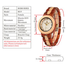 Ladies Quartz  Wristwatch with Full Wooden Band With Gift Box - JustLiveHappyLife